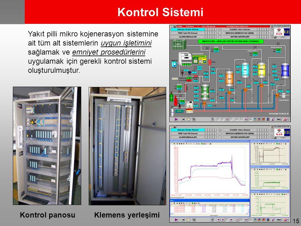 15 Kontrol panosu Yakıt pilli mikro kojenerasyon sistemine ait tüm alt sistemlerin uygun işletimini sağlamak ve emniyet prosedürlerini uygulamak için gerekli kontrol sistemi oluşturulmuştur.