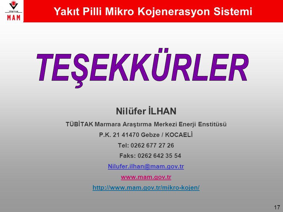 17 Nilüfer İLHAN TÜBİTAK Marmara Araştırma Merkezi Enerji Enstitüsü P.K.