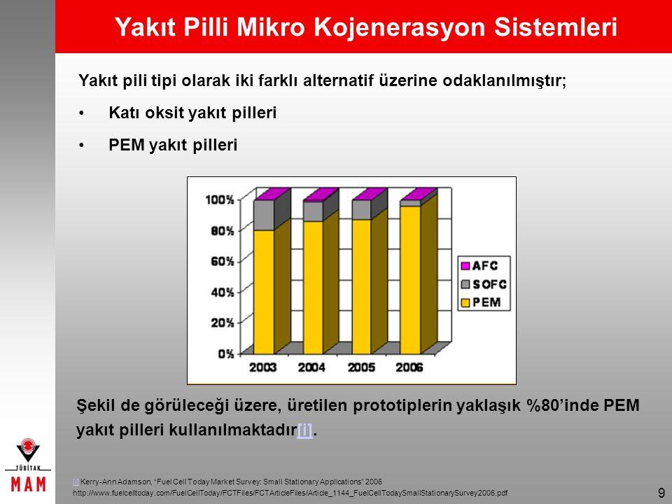 9 Yakıt pili tipi olarak iki farklı alternatif üzerine odaklanılmıştır; Katı oksit yakıt pilleri PEM yakıt pilleri Şekil de görüleceği üzere, üretilen prototiplerin yaklaşık %80'inde PEM yakıt pilleri kullanılmaktadır[i].[i] [i] Kerry-Ann Adamson, Fuel Cell Today Market Survey: Small Stationary Applications 2006 http://www.fuelcelltoday.com/FuelCellToday/FCTFiles/FCTArticleFiles/Article_1144_FuelCellTodaySmallStationarySurvey2006.pdf Yakıt Pilli Mikro Kojenerasyon Sistemleri