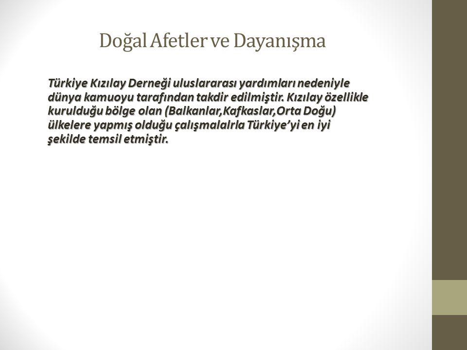Doğal Afetler ve Dayanışma Türkiye Kızılay Derneği uluslararası yardımları nedeniyle dünya kamuoyu tarafından takdir edilmiştir. Kızılay özellikle kur