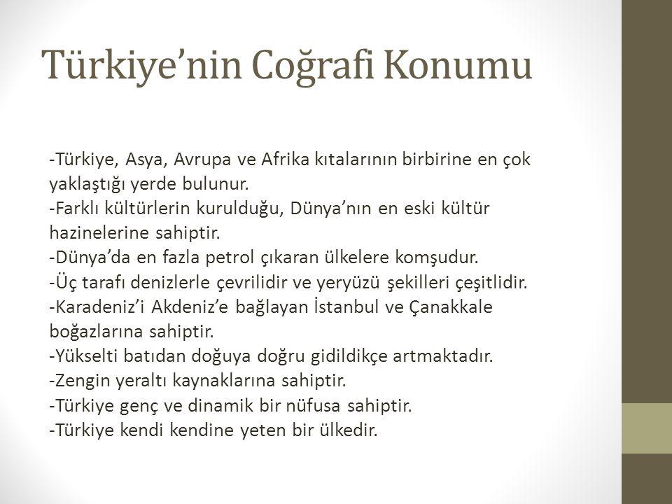 Türkiye'nin Coğrafi Konumu -Türkiye, Asya, Avrupa ve Afrika kıtalarının birbirine en çok yaklaştığı yerde bulunur. -Farklı kültürlerin kurulduğu, Düny