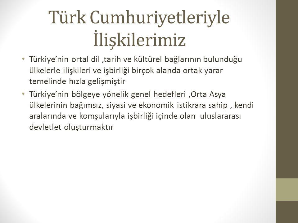 Türk Cumhuriyetleriyle İlişkilerimiz Türkiye'nin ortal dil,tarih ve kültürel bağlarının bulunduğu ülkelerle ilişkileri ve işbirliği birçok alanda orta