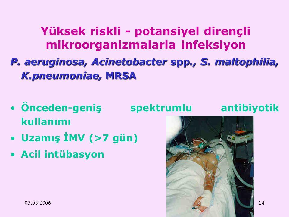 03.03.200614 Yüksek riskli - potansiyel dirençli mikroorganizmalarla infeksiyon P. aeruginosa, Acinetobacter spp., S. maltophilia, K.pneumoniae, MRSA