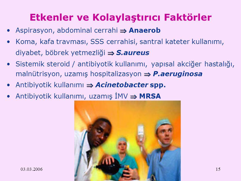 03.03.200615 Etkenler ve Kolaylaştırıcı Faktörler Aspirasyon, abdominal cerrahi  Anaerob Koma, kafa travması, SSS cerrahisi, santral kateter kullanı