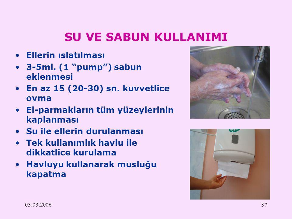 """03.03.200637 SU VE SABUN KULLANIMI Ellerin ıslatılması 3-5ml. (1 """"pump"""") sabun eklenmesi En az 15 (20-30) sn. kuvvetlice ovma El-parmakların tüm yüzey"""