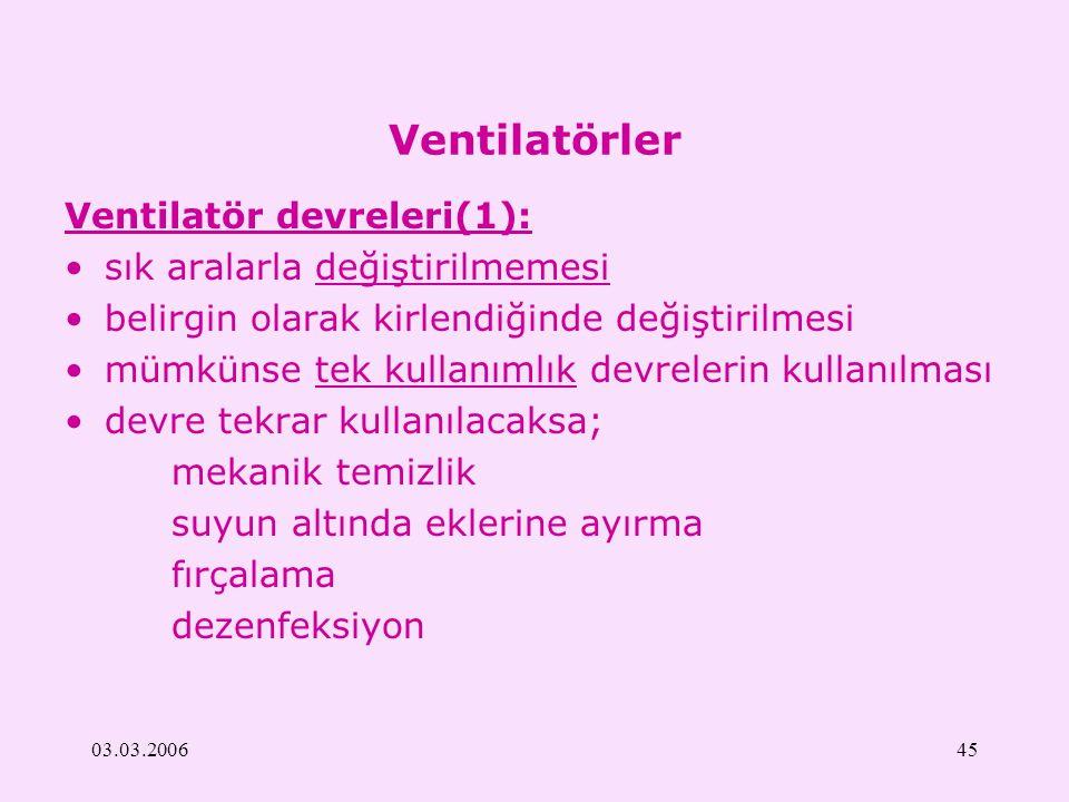 03.03.200645 Ventilatörler Ventilatör devreleri(1): sık aralarla değiştirilmemesi belirgin olarak kirlendiğinde değiştirilmesi mümkünse tek kullanımlı