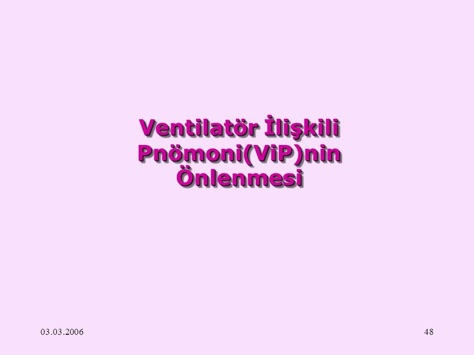 03.03.200648 Ventilatör İlişkili Pnömoni(ViP)nin Önlenmesi