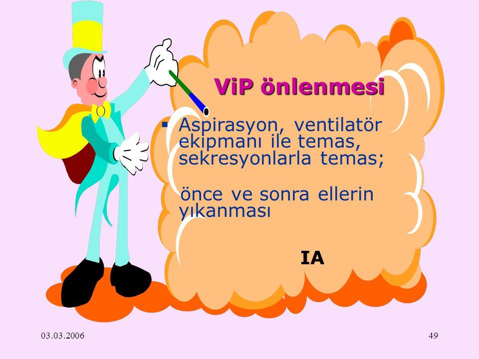 03.03.200649 ViP önlenmesi IA  Aspirasyon, ventilatör ekipmanı ile temas, sekresyonlarla temas; önce ve sonra ellerin yıkanması