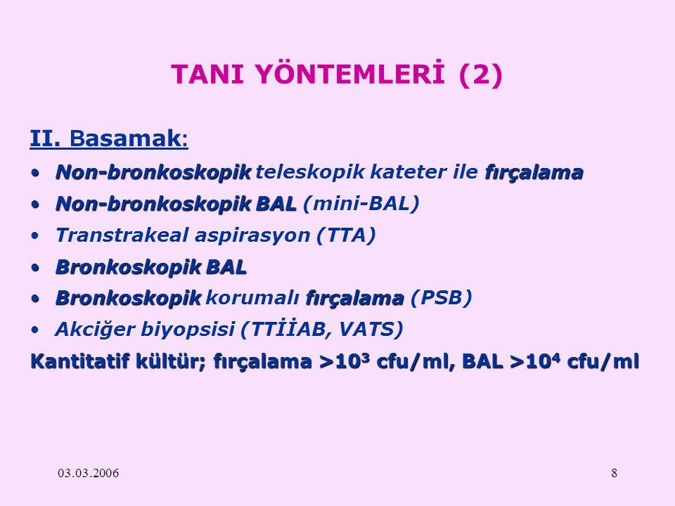 03.03.20068 TANI YÖNTEMLERİ (2) II. B asamak : Non-bronkoskopikfırçalamaNon-bronkoskopik teleskopik kateter ile fırçalama Non-bronkoskopikBALNon-bronk
