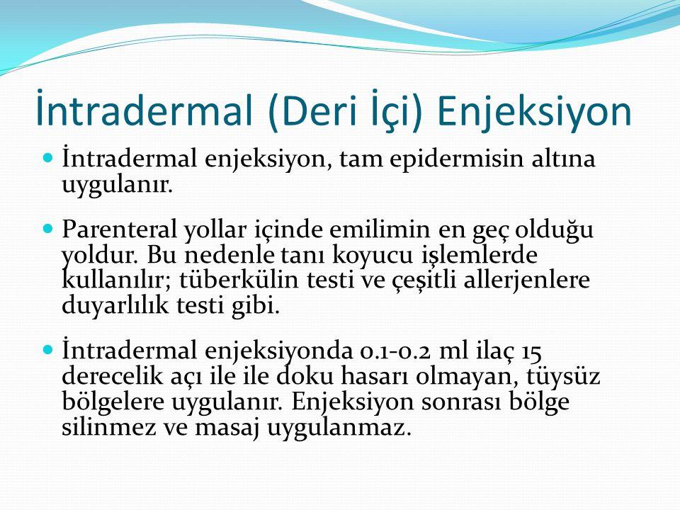 İntradermal (Deri İçi) Enjeksiyon İntradermal enjeksiyon, tam epidermisin altına uygulanır. Parenteral yollar içinde emilimin en geç olduğu yoldur. Bu