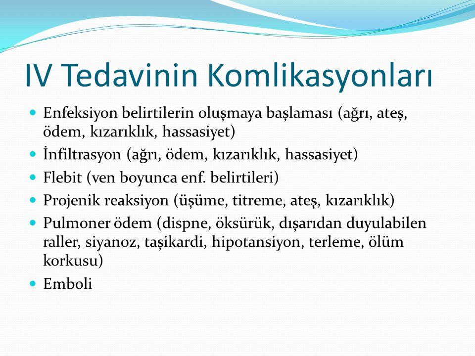 IV Tedavinin Komlikasyonları Enfeksiyon belirtilerin oluşmaya başlaması (ağrı, ateş, ödem, kızarıklık, hassasiyet) İnfiltrasyon (ağrı, ödem, kızarıklı