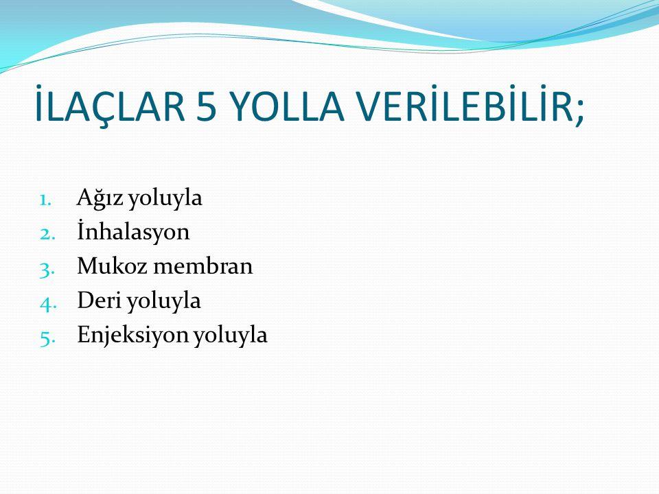 ENJEKSİYONLAR; İntradermik (deri içi-ID-IC) Subkutan/hipodremik (derialtı-SC) İntramüsküler (kas içi-IM) İntravenöz (damar içi- IV) İntraarteriyal (arter içi- IA) Peritona (periton içi) Spinal içi ya da kemik