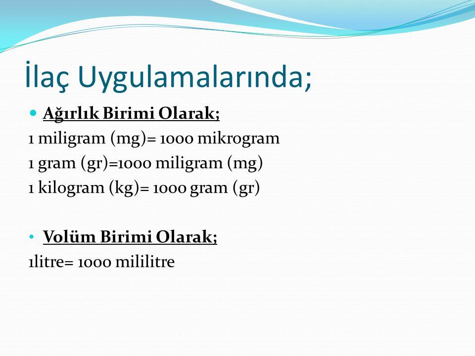 İlaç Uygulamalarında; Ağırlık Birimi Olarak; 1 miligram (mg)= 1000 mikrogram 1 gram (gr)=1000 miligram (mg) 1 kilogram (kg)= 1000 gram (gr) Volüm Biri