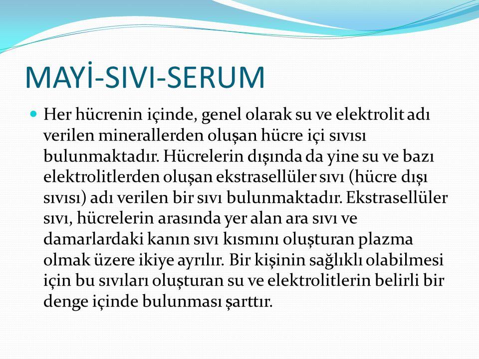 MAYİ-SIVI-SERUM Her hücrenin içinde, genel olarak su ve elektrolit adı verilen minerallerden oluşan hücre içi sıvısı bulunmaktadır. Hücrelerin dışında