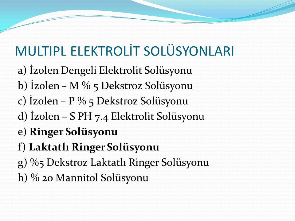 MULTIPL ELEKTROLİT SOLÜSYONLARI a) İzolen Dengeli Elektrolit Solüsyonu b) İzolen – M % 5 Dekstroz Solüsyonu c) İzolen – P % 5 Dekstroz Solüsyonu d) İz