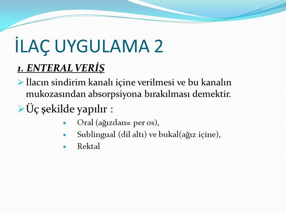 İLAÇ UYGULAMA 2 1. ENTERAL VERİŞ  İlacın sindirim kanalı içine verilmesi ve bu kanalın mukozasından absorpsiyona bırakılması demektir.  Üç şekilde y