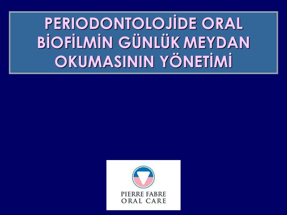 periodontit üzerindeki lokal tedavide DC 071 mouthwashın placeboya karşı efikasite ve tolerans çalışması BAKTERİOLOJİK SONUÇLAR Anaerobes/Aero-anaerobes oranın değerlendirilmesi -20.3% -32.9% Eludril PlaceboD15 Eludril Placebo D56 IN PRESS p= 0.026 6.8% D0 to D15 : anaerobun azalması p= 0.001 +1.9% D15 to D56 : aero-anaerobun artması ETIOLOGY MANAGEMENT PFOC