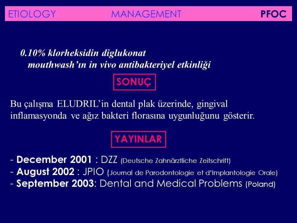 SONUÇ Bu çalışma ELUDRIL'in dental plak üzerinde, gingival inflamasyonda ve ağız bakteri florasına uygunluğunu gösterir. - December 2001 : DZZ (Deutsc