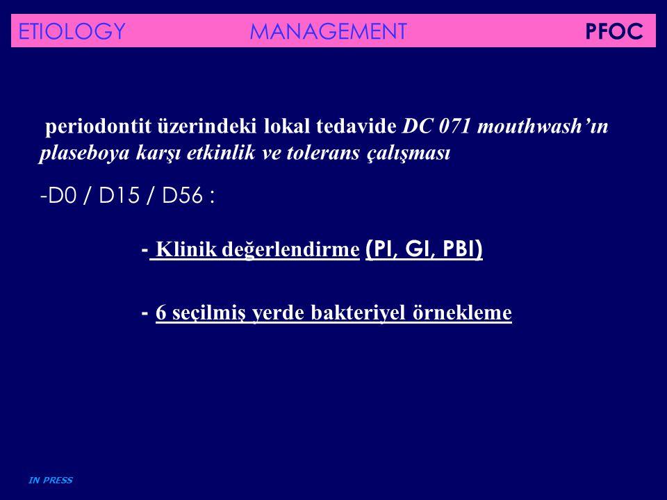 periodontit üzerindeki lokal tedavide DC 071 mouthwash'ın plaseboya karşı etkinlik ve tolerans çalışması IN PRESS -D0 / D15 / D56 : - Klinik değerlend