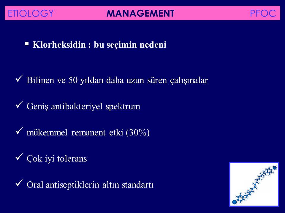 periodontit üzerindeki lokal tedavide DC 071 mouthwash'ın plaseboya karşı etkinlik ve tolerans çalışması IN PRESS -D0 / D15 / D56 : - Klinik değerlendirme (PI, GI, PBI) - 6 seçilmiş yerde bakteriyel örnekleme ETIOLOGY MANAGEMENT PFOC
