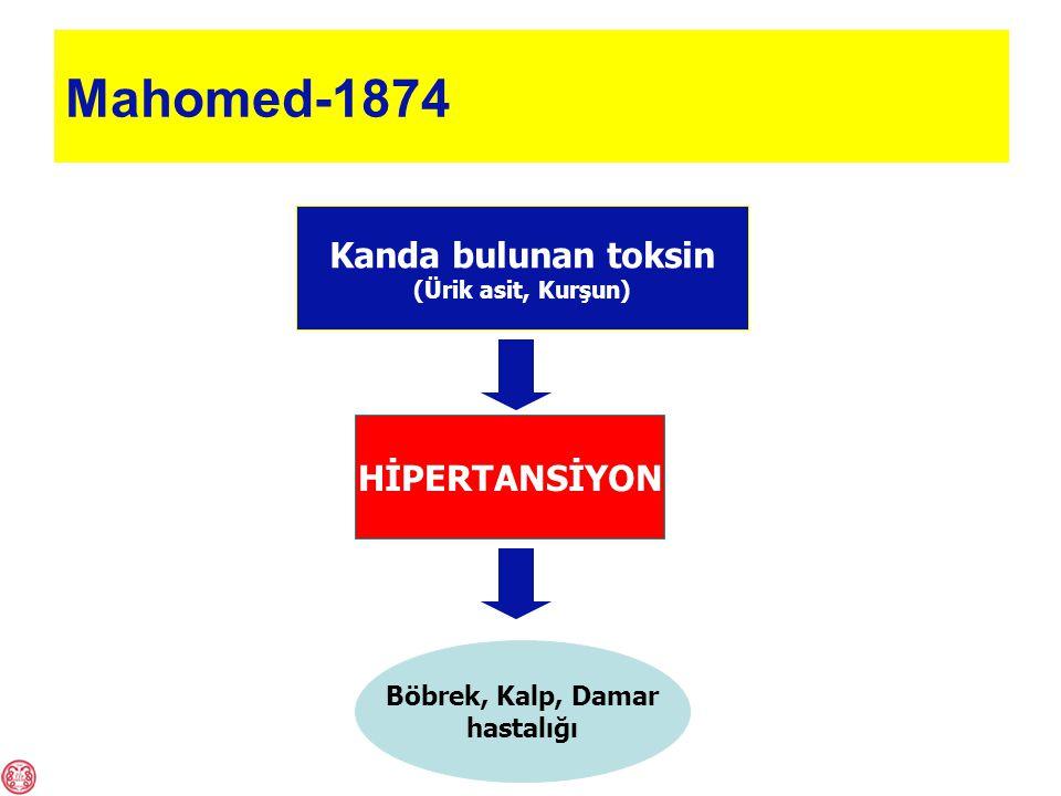 Mahomed-1874 Kanda bulunan toksin (Ürik asit, Kurşun) HİPERTANSİYON Böbrek, Kalp, Damar hastalığı