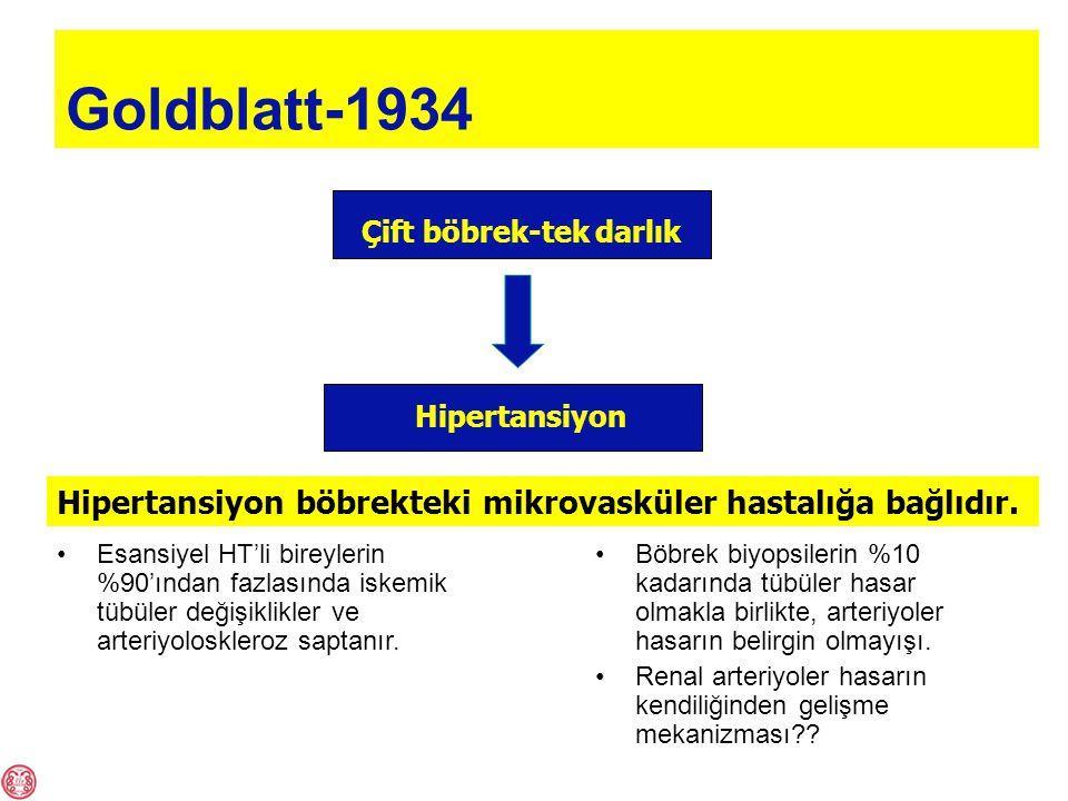 Goldblatt-1934 Çift böbrek-tek darlık Hipertansiyon Hipertansiyon böbrekteki mikrovasküler hastalığa bağlıdır.