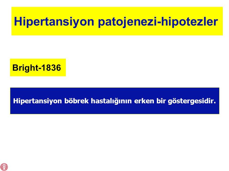 Hipertansiyon patojenezi-hipotezler Arteriyoler hasar Kalp ve böbrekte yüklenme Periferik damar direnci artışı Küçük damar lümen daralması Hipertansiyon Gull, Sutton-1872Folkow-1987