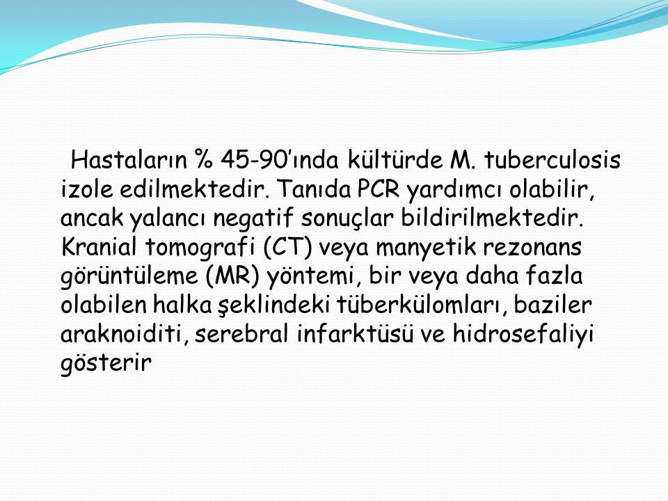 Hastaların % 45-90'ında kültürde M. tuberculosis izole edilmektedir. Tanıda PCR yardımcı olabilir, ancak yalancı negatif sonuçlar bildirilmektedir. Kr
