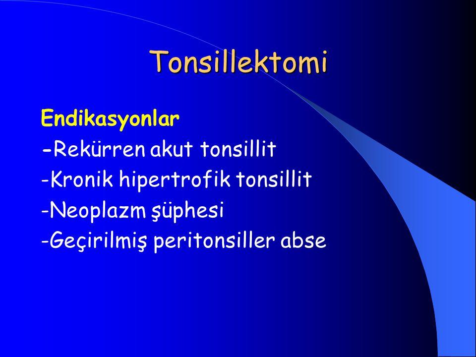 Tonsillektomi Endikasyonlar -Rekürren akut tonsillit -Kronik hipertrofik tonsillit -Neoplazm şüphesi -Geçirilmiş peritonsiller abse