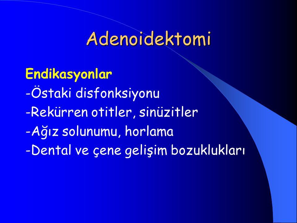Adenoidektomi Endikasyonlar -Östaki disfonksiyonu -Rekürren otitler, sinüzitler -Ağız solunumu, horlama -Dental ve çene gelişim bozuklukları