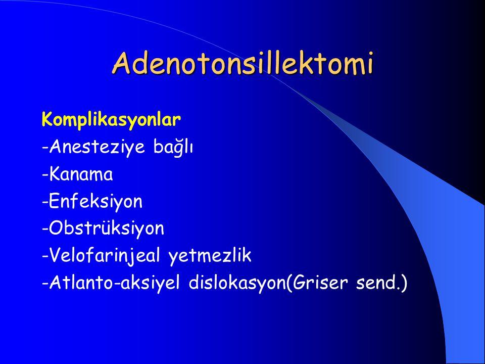 Adenotonsillektomi Komplikasyonlar -Anesteziye bağlı -Kanama -Enfeksiyon -Obstrüksiyon -Velofarinjeal yetmezlik -Atlanto-aksiyel dislokasyon(Griser se