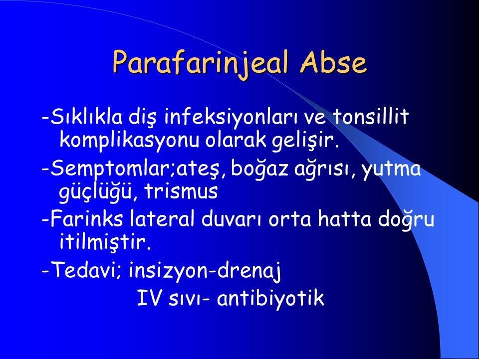 Parafarinjeal Abse -Sıklıkla diş infeksiyonları ve tonsillit komplikasyonu olarak gelişir. -Semptomlar;ateş, boğaz ağrısı, yutma güçlüğü, trismus -Far