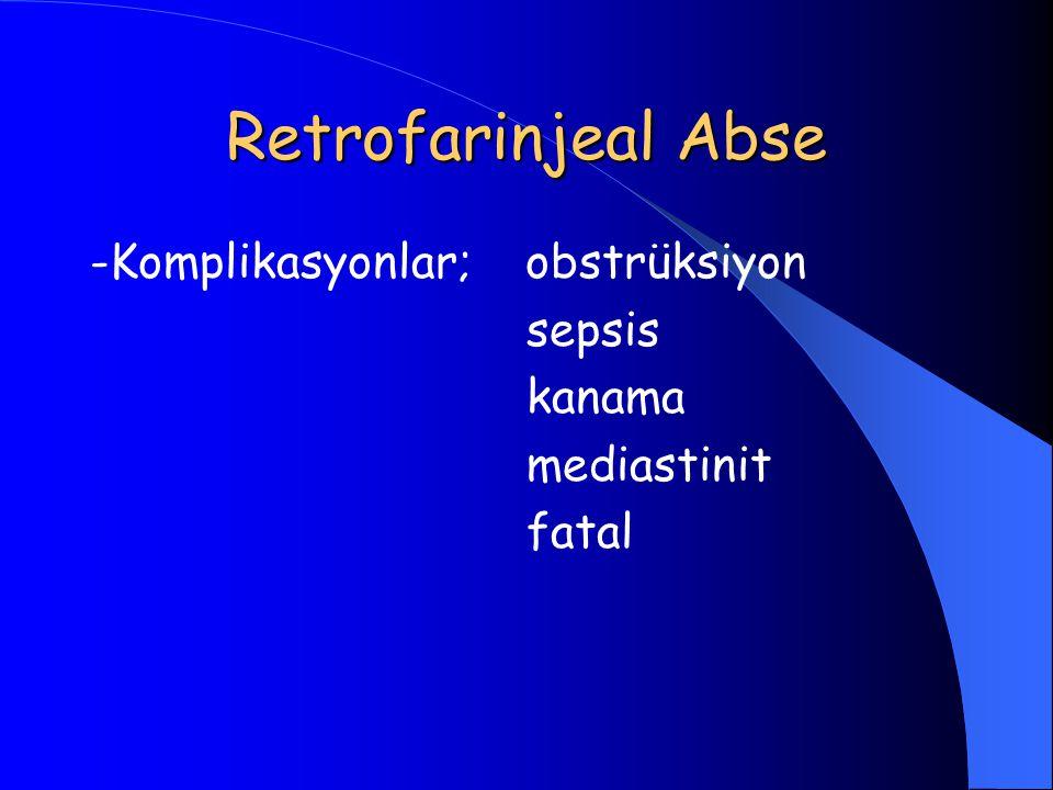 Retrofarinjeal Abse -Komplikasyonlar; obstrüksiyon sepsis kanama mediastinit fatal