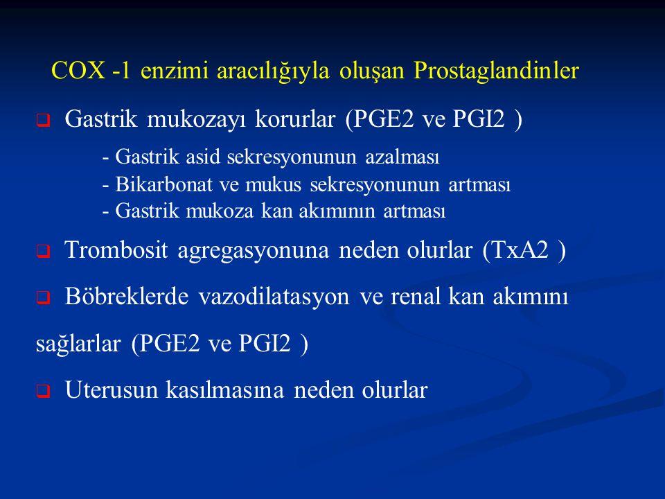  Gastrik mukozayı korurlar (PGE2 ve PGI2 ) - Gastrik asid sekresyonunun azalması - Bikarbonat ve mukus sekresyonunun artması - Gastrik mukoza kan akımının artması  Trombosit agregasyonuna neden olurlar (TxA2 )  Böbreklerde vazodilatasyon ve renal kan akımını sağlarlar (PGE2 ve PGI2 )  Uterusun kasılmasına neden olurlar COX -1 enzimi aracılığıyla oluşan Prostaglandinler