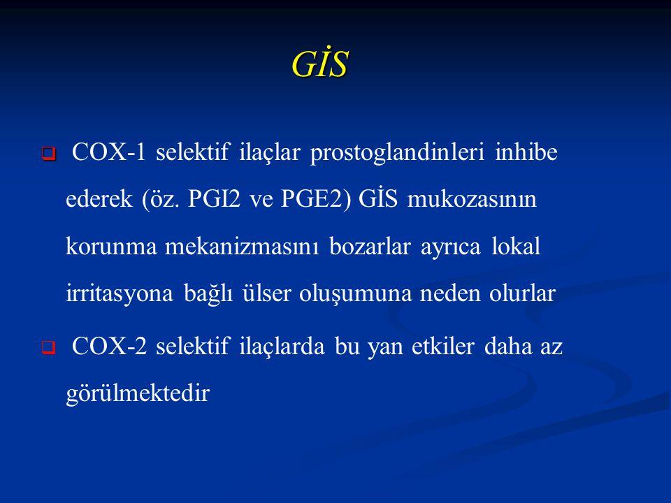 GİS   COX-1 selektif ilaçlar prostoglandinleri inhibe ederek (öz.