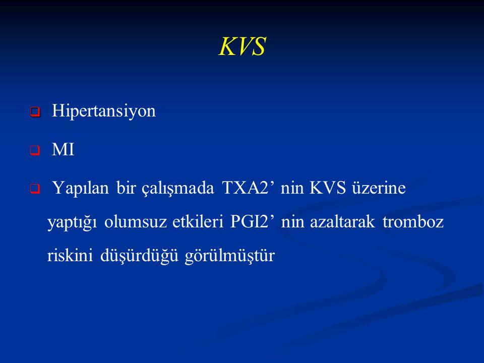 KVS   Hipertansiyon   MI   Yapılan bir çalışmada TXA2' nin KVS üzerine yaptığı olumsuz etkileri PGI2' nin azaltarak tromboz riskini düşürdüğü görülmüştür
