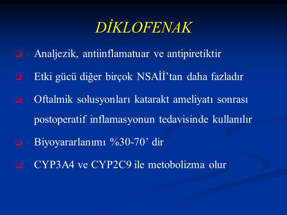 DİKLOFENAK   Analjezik, antiinflamatuar ve antipiretiktir   Etki gücü diğer birçok NSAİİ'tan daha fazladır   Oftalmik solusyonları katarakt ameliyatı sonrası postoperatif inflamasyonun tedavisinde kullanılır   Biyoyararlanımı %30-70' dir   CYP3A4 ve CYP2C9 ile metobolizma olur
