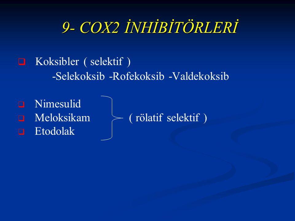 9- COX2 İNHİBİTÖRLERİ 9- COX2 İNHİBİTÖRLERİ   Koksibler ( selektif ) -Selekoksib -Rofekoksib -Valdekoksib   Nimesulid   Meloksikam ( rölatif selektif )   Etodolak