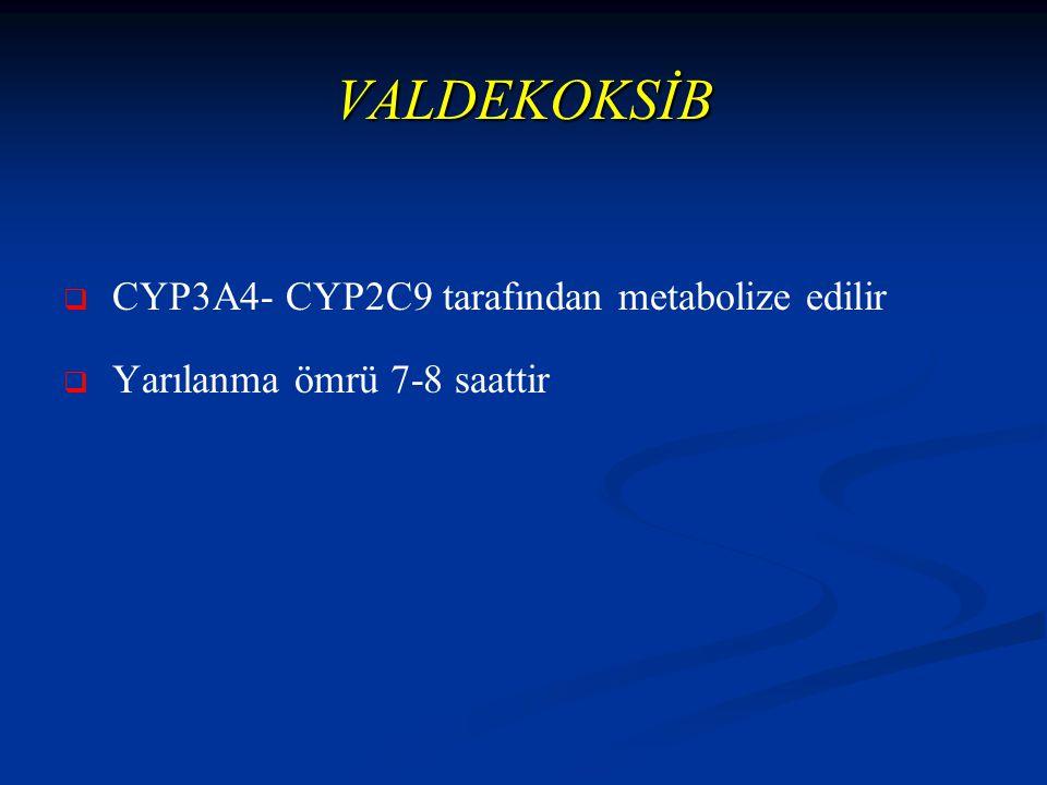 VALDEKOKSİB   CYP3A4- CYP2C9 tarafından metabolize edilir   Yarılanma ömrü 7-8 saattir