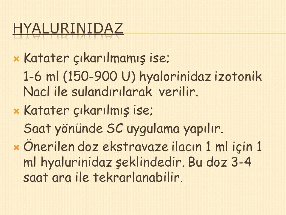  Katater çıkarılmamış ise; 1-6 ml (150-900 U) hyalorinidaz izotonik Nacl ile sulandırılarak verilir.  Katater çıkarılmış ise; Saat yönünde SC uygula