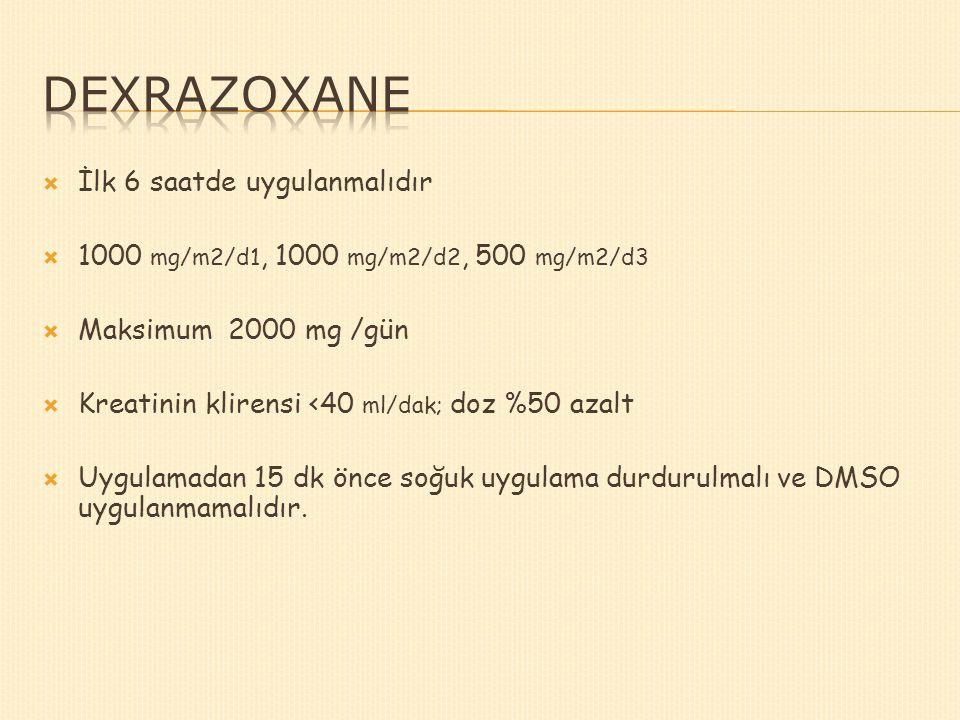 İlk 6 saatde uygulanmalıdır  1000 mg/m2/d1, 1000 mg/m2/d2, 500 mg/m2/d3  Maksimum 2000 mg /gün  Kreatinin klirensi <40 ml/dak; doz %50 azalt  Uy