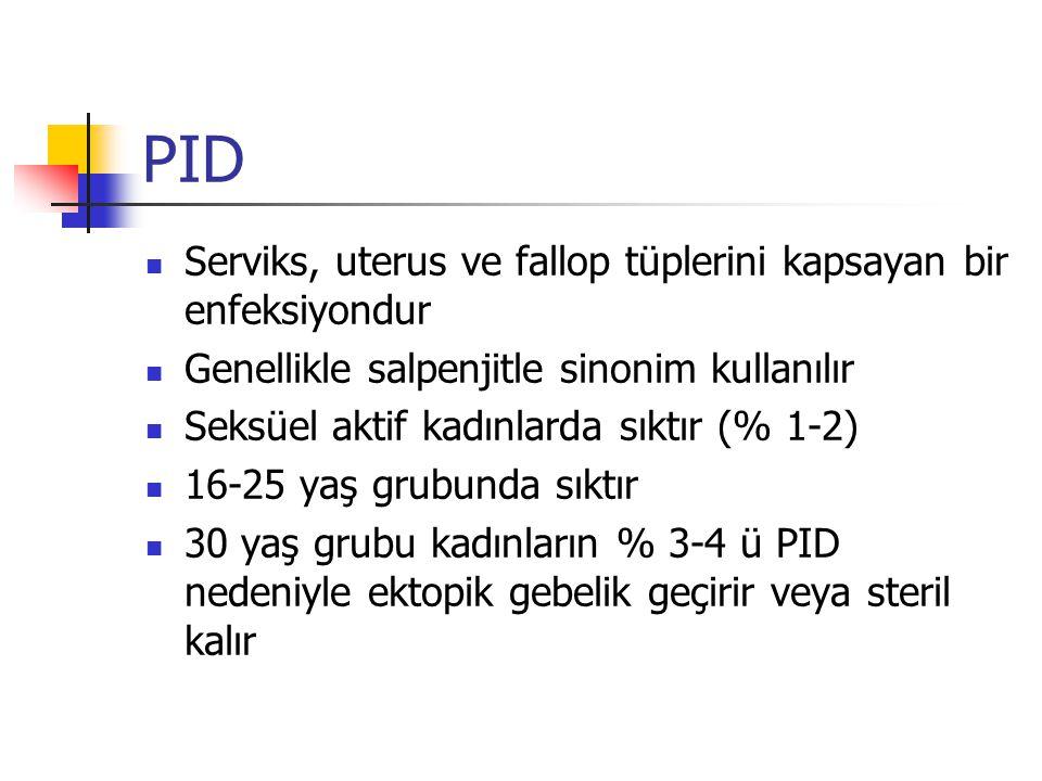 PID Serviks, uterus ve fallop tüplerini kapsayan bir enfeksiyondur Genellikle salpenjitle sinonim kullanılır Seksüel aktif kadınlarda sıktır (% 1-2) 16-25 yaş grubunda sıktır 30 yaş grubu kadınların % 3-4 ü PID nedeniyle ektopik gebelik geçirir veya steril kalır