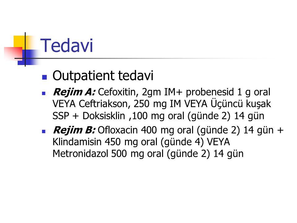 Tedavi Outpatient tedavi Rejim A: Cefoxitin, 2gm IM+ probenesid 1 g oral VEYA Ceftriakson, 250 mg IM VEYA Üçüncü kuşak SSP + Doksisklin,100 mg oral (günde 2) 14 gün Rejim B: Ofloxacin 400 mg oral (günde 2) 14 gün + Klindamisin 450 mg oral (günde 4) VEYA Metronidazol 500 mg oral (günde 2) 14 gün