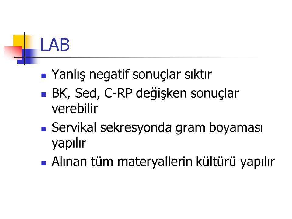 LAB Yanlış negatif sonuçlar sıktır BK, Sed, C-RP değişken sonuçlar verebilir Servikal sekresyonda gram boyaması yapılır Alınan tüm materyallerin kültürü yapılır