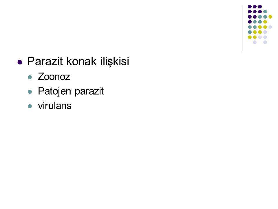 Parazit konak ilişkisi Zoonoz Patojen parazit virulans