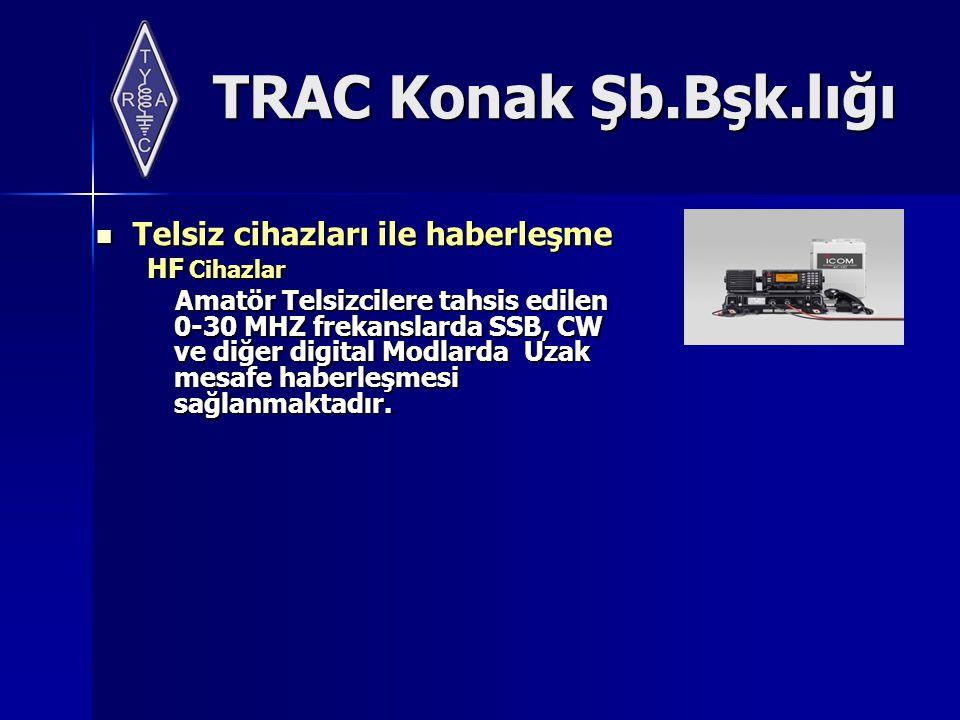 TRAC Konak Şb.Bşk.lığı Telsiz cihazları ile haberleşme Telsiz cihazları ile haberleşme HF Cihazlar HF Cihazlar Amatör Telsizcilere tahsis edilen 0-30 MHZ frekanslarda SSB, CW ve diğer digital Modlarda Uzak mesafe haberleşmesi sağlanmaktadır.