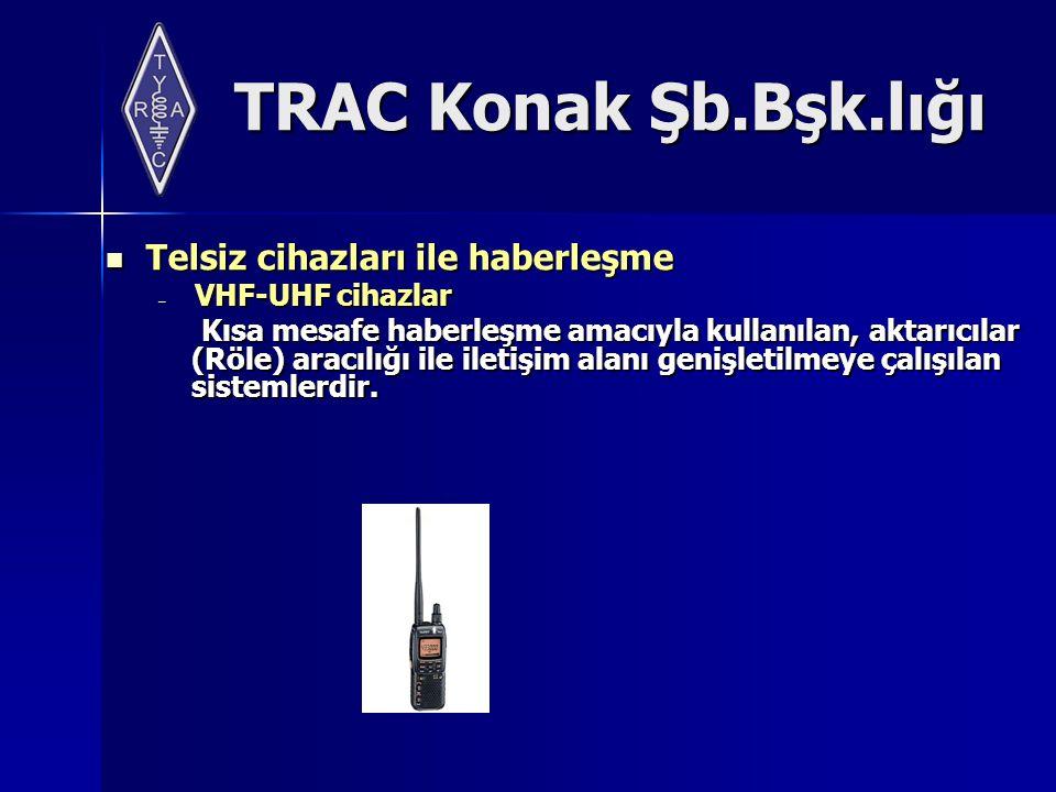 TRAC Konak Şb.Bşk.lığı Telsiz cihazları ile haberleşme Telsiz cihazları ile haberleşme – VHF-UHF cihazlar Kısa mesafe haberleşme amacıyla kullanılan, aktarıcılar (Röle) aracılığı ile iletişim alanı genişletilmeye çalışılan sistemlerdir.