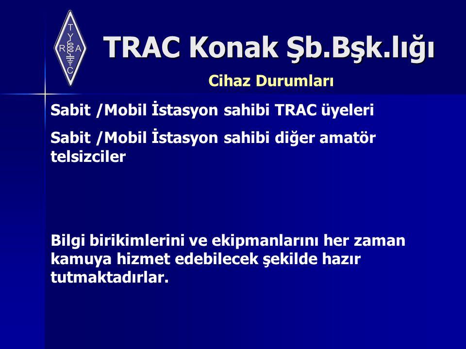 TRAC Konak Şb.Bşk.lığı Cihaz Durumları Sabit /Mobil İstasyon sahibi TRAC üyeleri Sabit /Mobil İstasyon sahibi diğer amatör telsizciler Bilgi birikimlerini ve ekipmanlarını her zaman kamuya hizmet edebilecek şekilde hazır tutmaktadırlar.