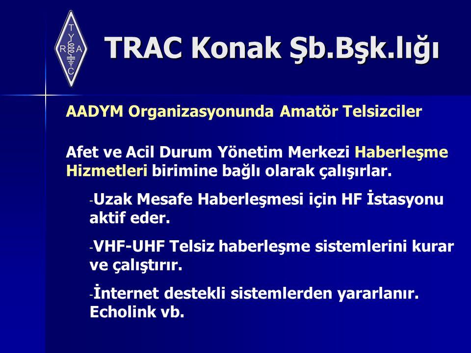 TRAC Konak Şb.Bşk.lığı AADYM Organizasyonunda Amatör Telsizciler Afet ve Acil Durum Yönetim Merkezi Haberleşme Hizmetleri birimine bağlı olarak çalışırlar.