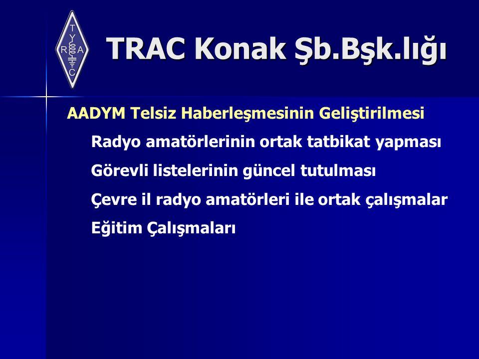 TRAC Konak Şb.Bşk.lığı AADYM Telsiz Haberleşmesinin Geliştirilmesi Radyo amatörlerinin ortak tatbikat yapması Görevli listelerinin güncel tutulması Çevre il radyo amatörleri ile ortak çalışmalar Eğitim Çalışmaları